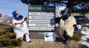 Manhattan KS Dentistry by Design team members Justyna and Jessica dressed up as molars for Monster Mouth month